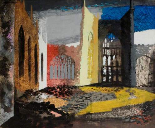 Piper, John, 1903-1992; Interior of Coventry Cathedral, 15 November 1940